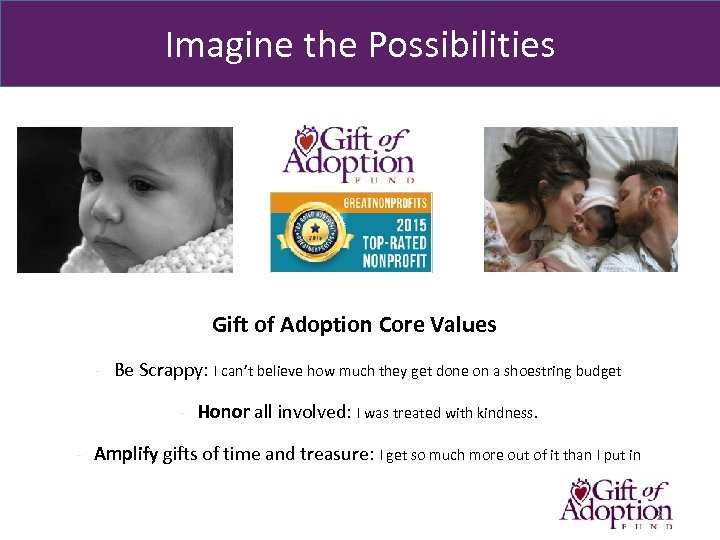 Imagine the Possibilities Gift of Adoption Core Values - Be Scrappy: I can't believe