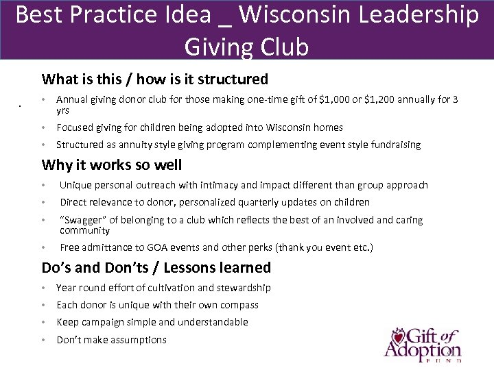 Best Practice Idea _ Wisconsin Leadership Giving Club What is this / how is