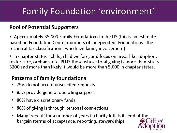 Family Foundation 'environment' Pool of Potential Supporters • Approximately 35, 000 Family Foundations in