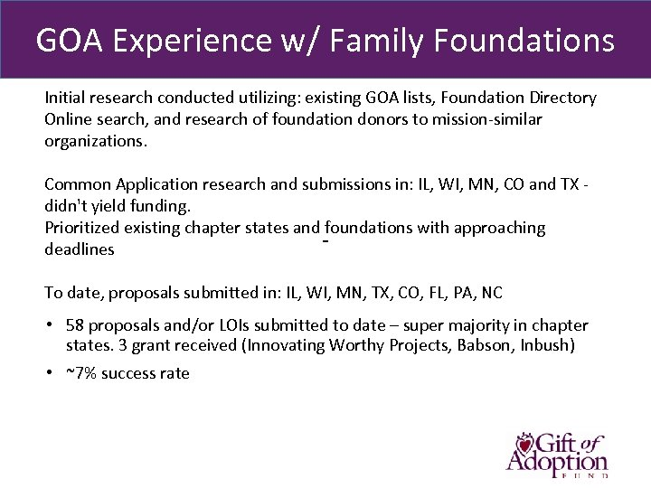 GOA Experience w/ Family Foundations Initial research conducted utilizing: existing GOA lists, Foundation Directory