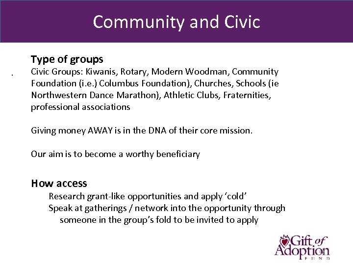 Community and Civic Type of groups. Civic Groups: Kiwanis, Rotary, Modern Woodman, Community Foundation