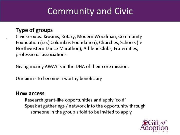 Community and Civic Type of groups. Civic Groups: Kiwanis, Rotary, Modern Woodman, Community Foundation