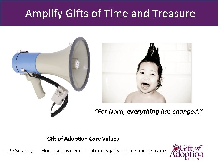 "Amplify Gifts of Time and Treasure ""For Nora, everything has changed. "" Gift"