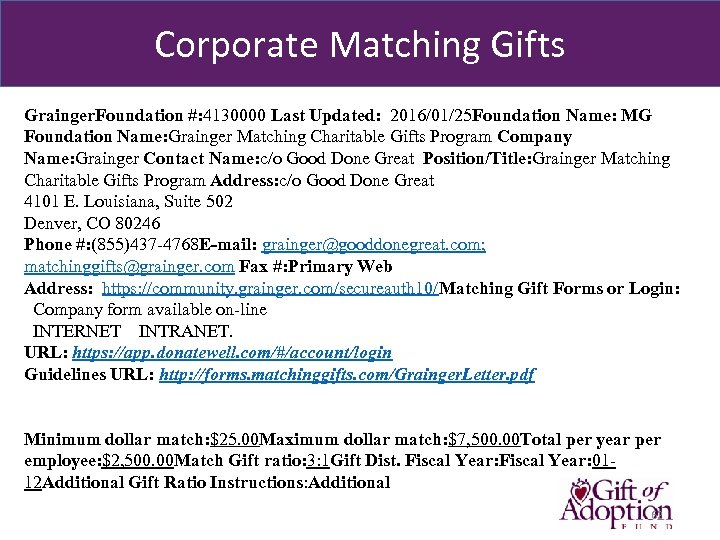 Corporate Matching Gifts Grainger. Foundation #: 4130000 Last Updated: 2016/01/25 Foundation Name: MG Foundation
