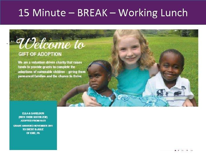 15 Minute – BREAK – Working Lunch . 64