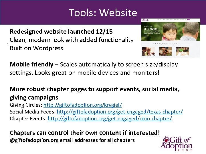 Tools: Website Redesigned website launched 12/15. Clean, modern look with added functionality Built on