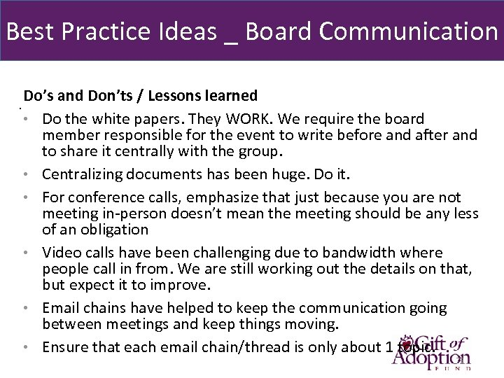 Best Practice Ideas _ Board Communication Do's and Don'ts / Lessons learned. • Do
