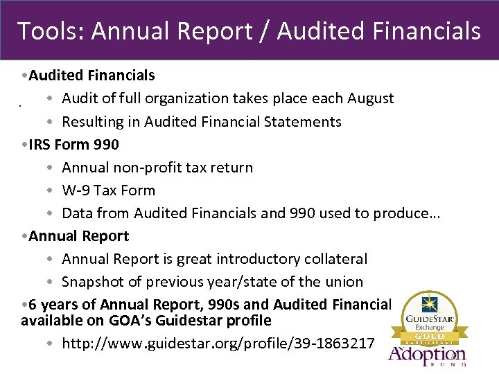 Tools: Annual Report / Audited Financials • Audited Financials • Audit of full organization