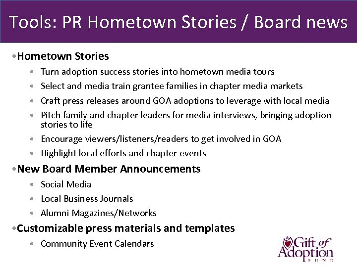 Tools: PR Hometown Stories / Board news • Hometown Stories • Turn adoption success