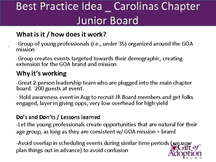Best Practice Idea _ Carolinas Chapter Junior Board What is it / how does