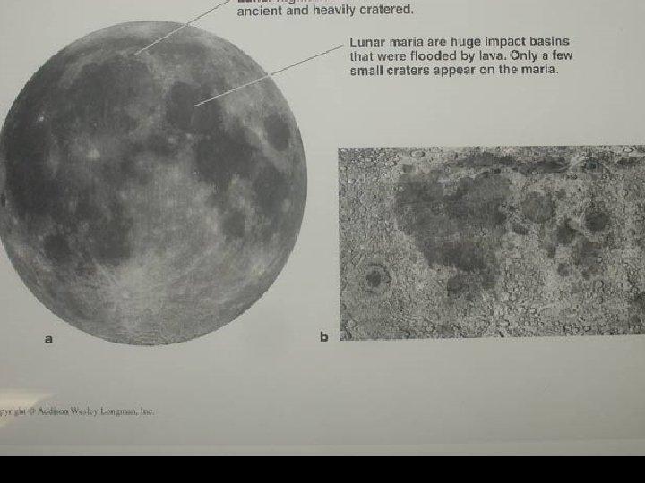 Moon's surface; maria vs highlands