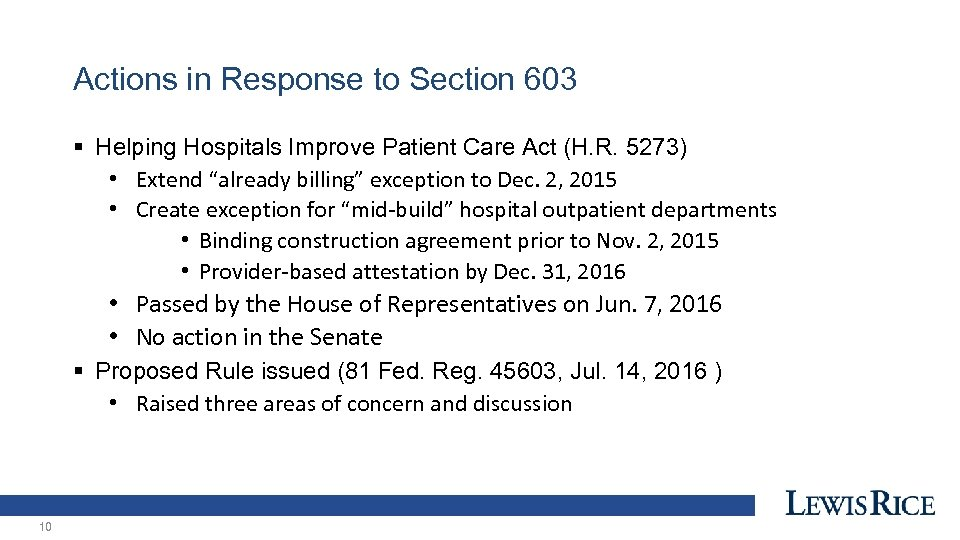 Actions in Response to Section 603 § Helping Hospitals Improve Patient Care Act (H.