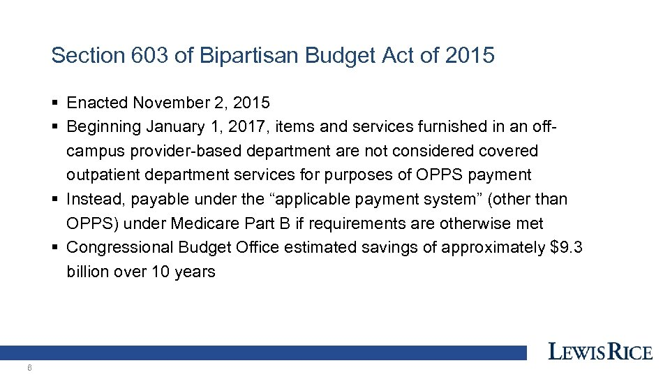 Section 603 of Bipartisan Budget Act of 2015 § Enacted November 2, 2015 §
