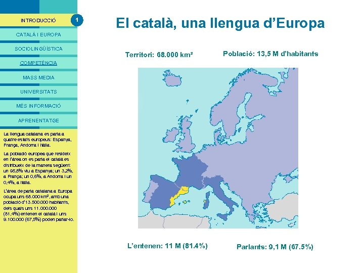 PRESENTACIÓ INTRODUCCIÓ 1 El català, una llengua d'Europa CATALÀ I EUROPA SOCIOLINGÜÍSTICA Territori: 68.