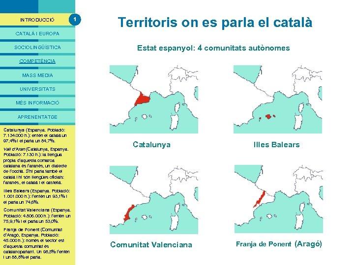 PRESENTACIÓ INTRODUCCIÓ 1 Territoris on es parla el català CATALÀ I EUROPA SOCIOLINGÜÍSTICA Estat