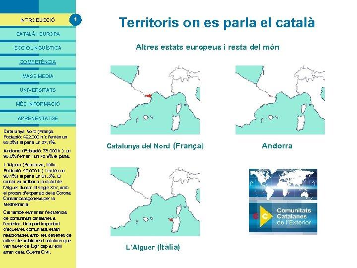 PRESENTACIÓ INTRODUCCIÓ 1 Territoris on es parla el català CATALÀ I EUROPA SOCIOLINGÜÍSTICA Altres