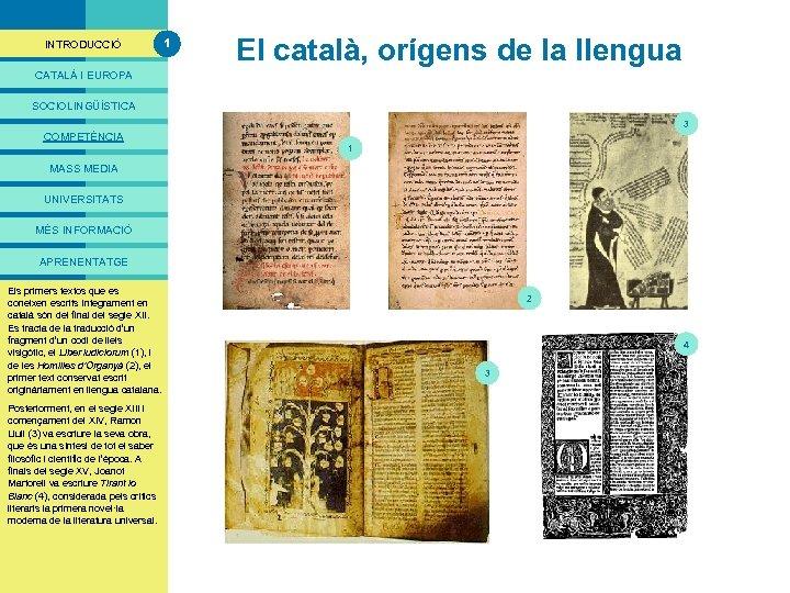 PRESENTACIÓ INTRODUCCIÓ 1 El català, orígens de la llengua CATALÀ I EUROPA SOCIOLINGÜÍSTICA 3