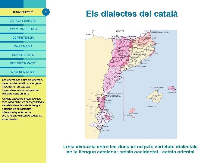 PRESENTACIÓ INTRODUCCIÓ 1 Els dialectes del català CATALÀ I EUROPA SOCIOLINGÜÍSTICA COMPETÈNCIA MASS MEDIA