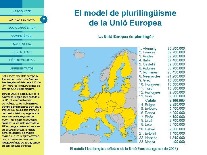 PRESENTACIÓ INTRODUCCIÓ CATALÀ I EUROPA SOCIOLINGÜÍSTICA COMPETÈNCIA 2 El model de plurilingüisme de la