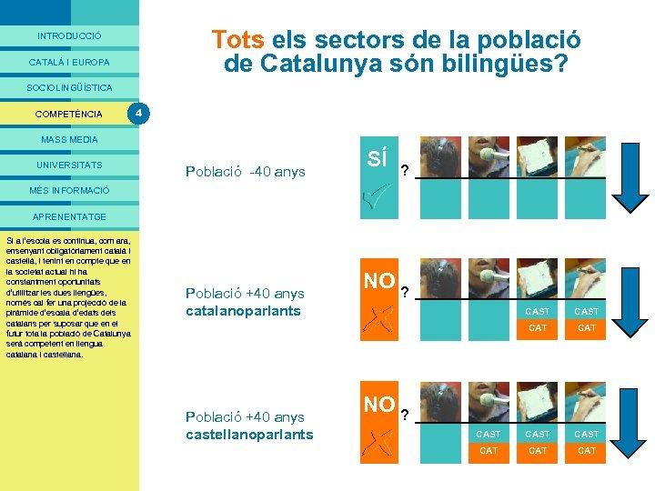 PRESENTACIÓ Tots els sectors de la població de Catalunya són bilingües? INTRODUCCIÓ CATALÀ I