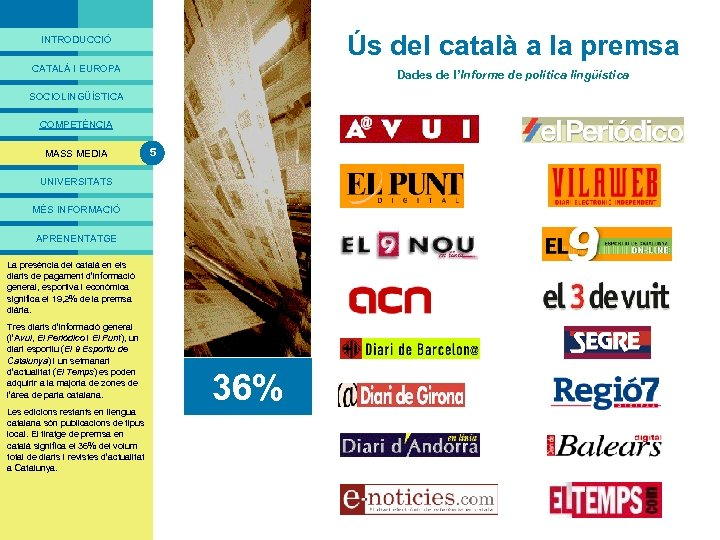 PRESENTACIÓ Ús del català a la premsa INTRODUCCIÓ CATALÀ I EUROPA Dades de l'Informe