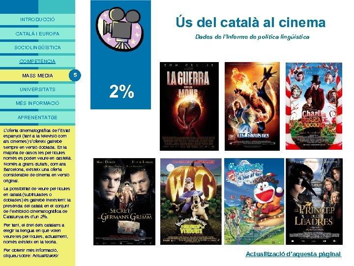 PRESENTACIÓ Ús del català al cinema INTRODUCCIÓ CATALÀ I EUROPA Dades de l'Informe de