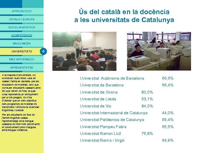 PRESENTACIÓ Ús del català en la docència a les universitats de Catalunya INTRODUCCIÓ CATALÀ