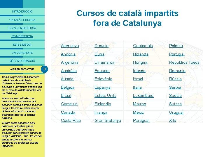 PRESENTACIÓ Cursos de català impartits fora de Catalunya INTRODUCCIÓ CATALÀ I EUROPA SOCIOLINGÜÍSTICA COMPETÈNCIA