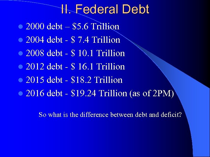 II. Federal Debt l 2000 debt – $5. 6 Trillion l 2004 debt -