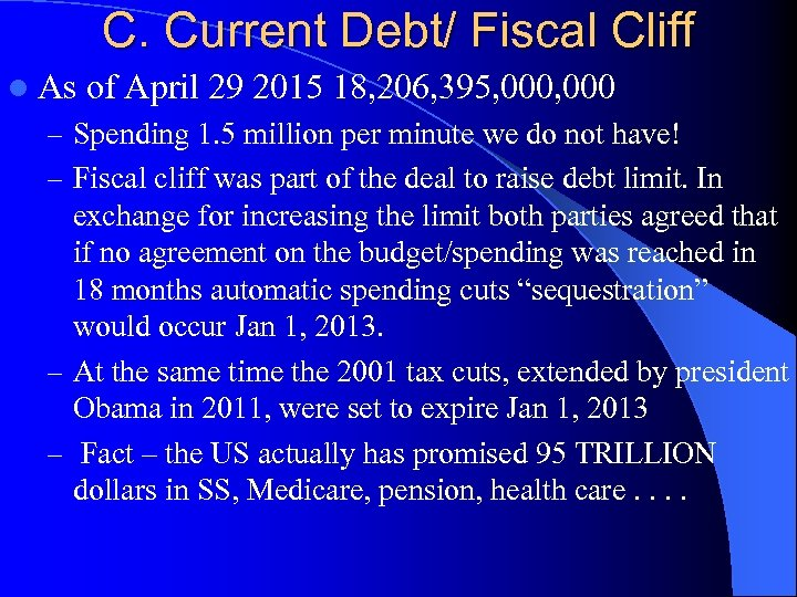 C. Current Debt/ Fiscal Cliff l As of April 29 2015 18, 206, 395,