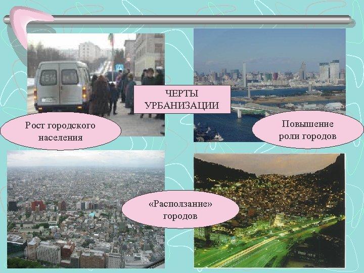 ЧЕРТЫ УРБАНИЗАЦИИ Повышение роли городов Рост городского населения «Расползание» городов