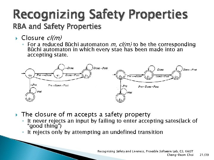 Recognizing Safety Properties RBA and Safety Properties Closure cl(m) The closure of m accepts