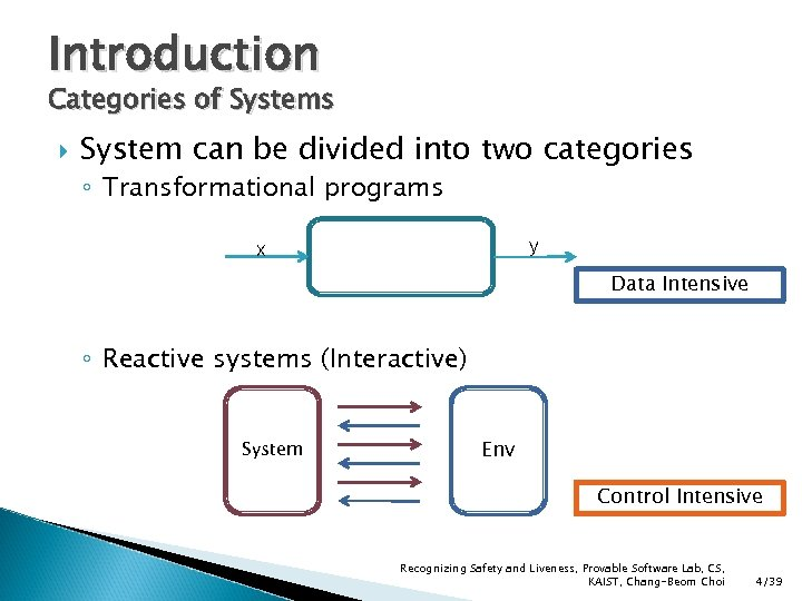 Introduction Categories of Systems System can be divided into two categories ◦ Transformational programs