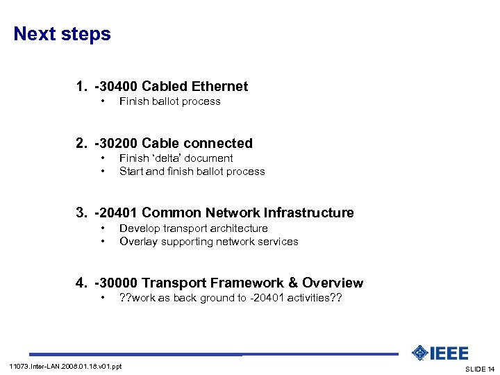 Next steps 1. -30400 Cabled Ethernet • Finish ballot process 2. -30200 Cable connected