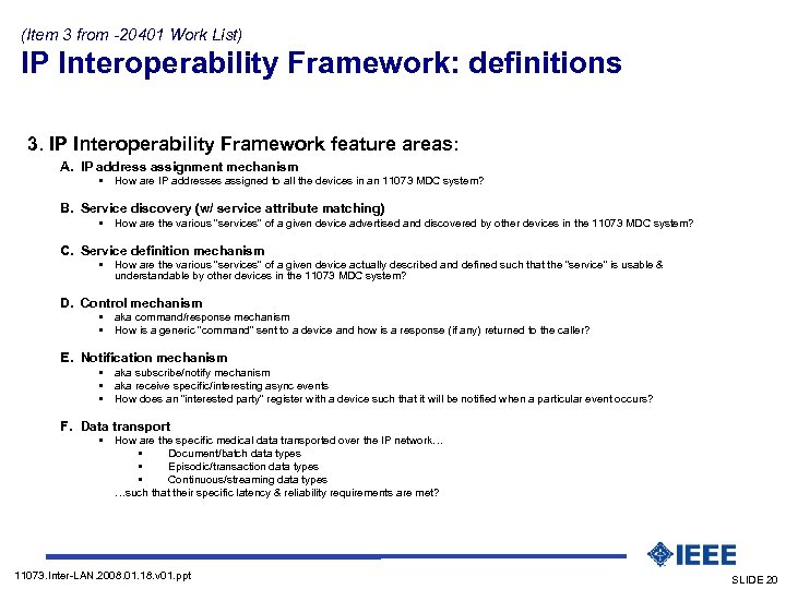 (Item 3 from -20401 Work List) IP Interoperability Framework: definitions (Presentation mode: build-a-slide) 3.