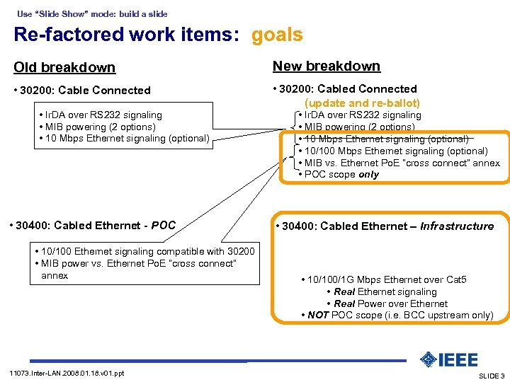 "Use ""Slide Show"" mode: build a slide Re-factored work items: goals Old breakdown New"