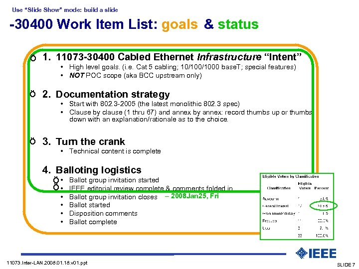 "Use ""Slide Show"" mode: build a slide -30400 Work Item List: goals & status"