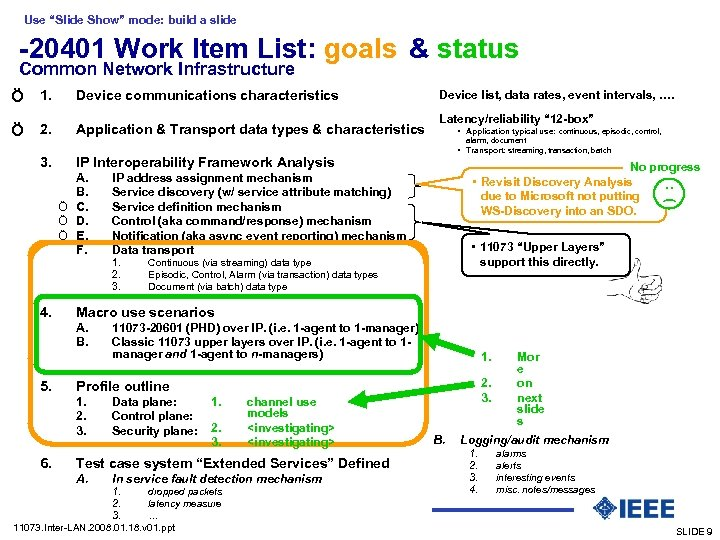 "Use ""Slide Show"" mode: build a slide -20401 Work Item List: goals & status"