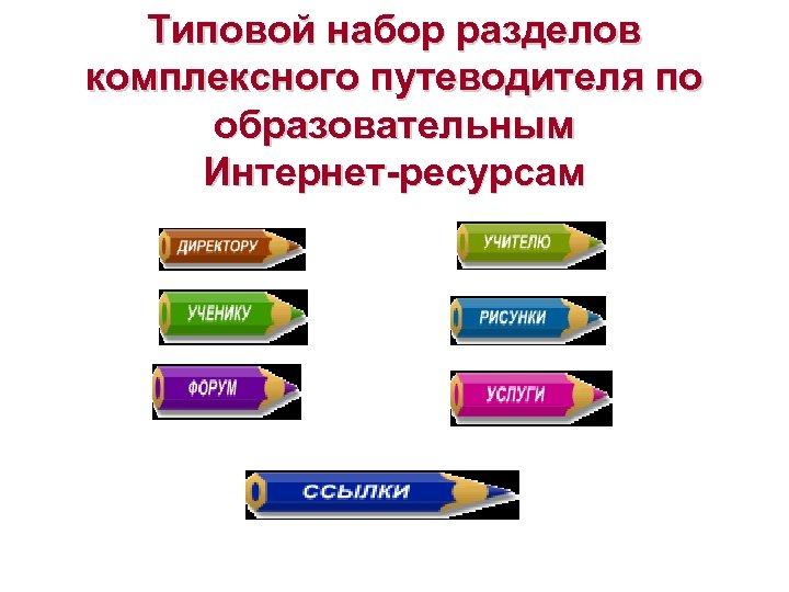 Типовой набор разделов комплексного путеводителя по образовательным Интернет-ресурсам