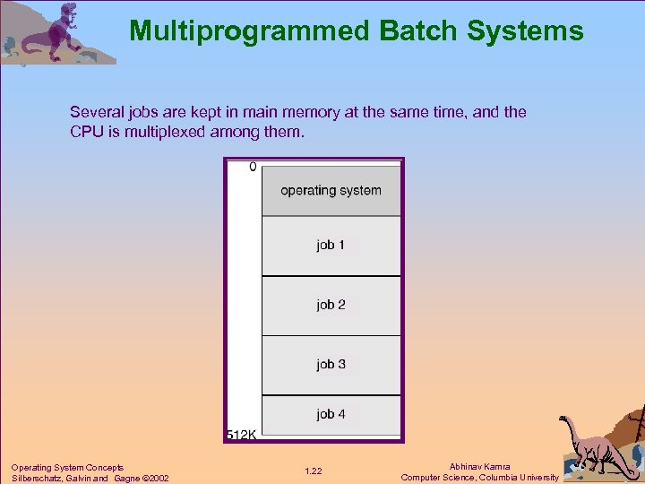 Multiprogrammed Batch Systems Several jobs are kept in main memory at the same time,