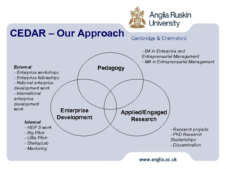 CEDAR – Our Approach - BA in Enterprise and Entrepreneurial Management - MA in