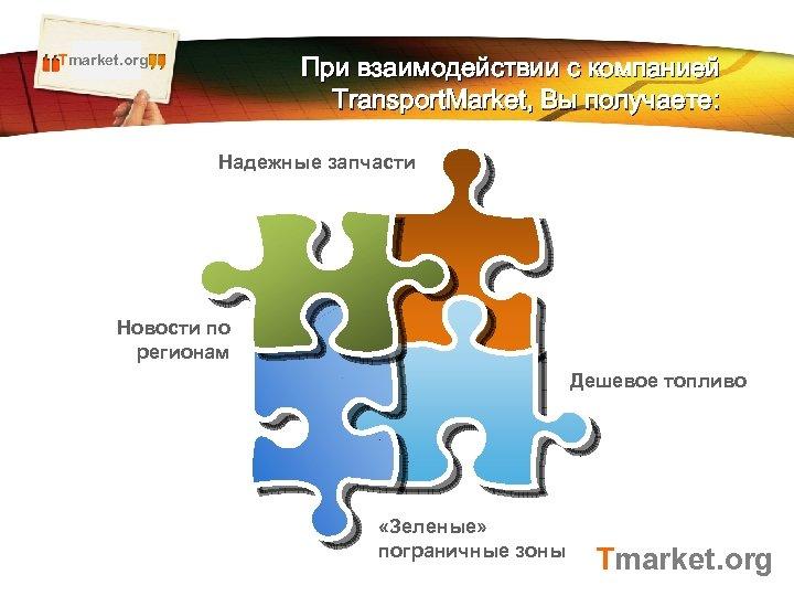 Tmarket. org LOGO При взаимодействии с компанией Transport. Market, Вы получаете: Надежные запчасти Новости