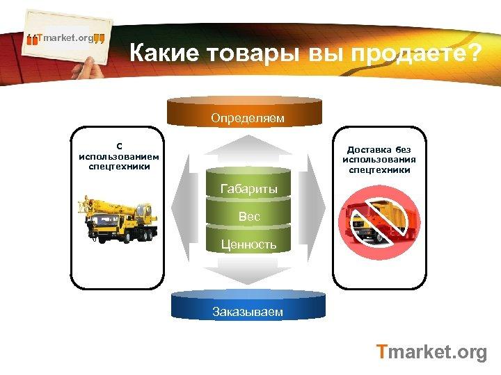 Tmarket. org LOGO Какие товары вы продаете? Определяем С использованием спецтехники Доставка без использования