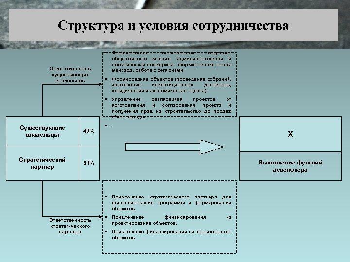 Структура и условия сотрудничества Ответственность существующих владельцев • Формирование оптимальной ситуации: общественное мнение, административная