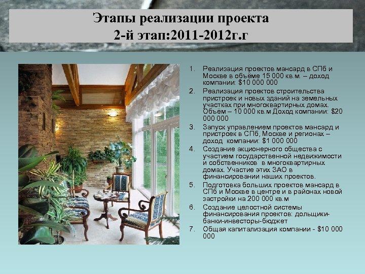 Этапы реализации проекта 2 -й этап: 2011 -2012 г. г 1. 2. 3. 4.