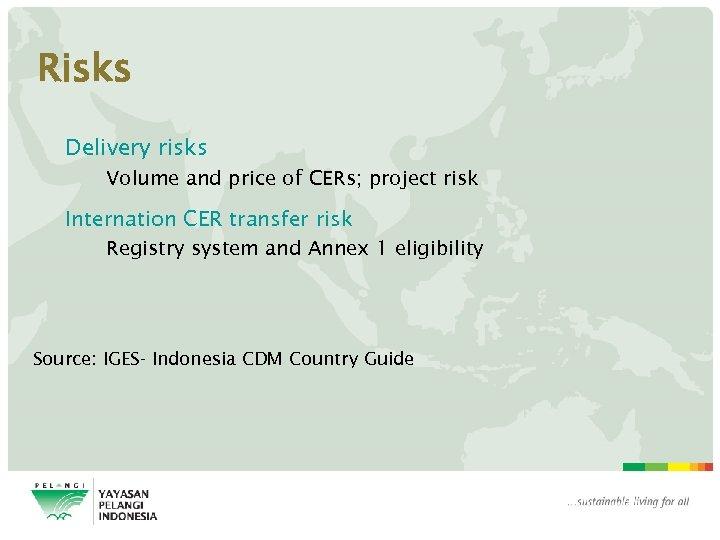 Risks Delivery risks Volume and price of CERs; project risk Internation CER transfer risk