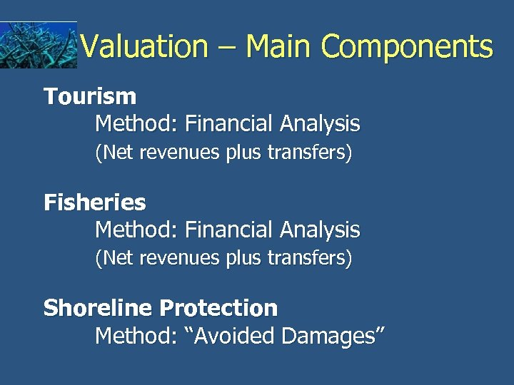 Valuation – Main Components Tourism Method: Financial Analysis (Net revenues plus transfers) Fisheries Method: