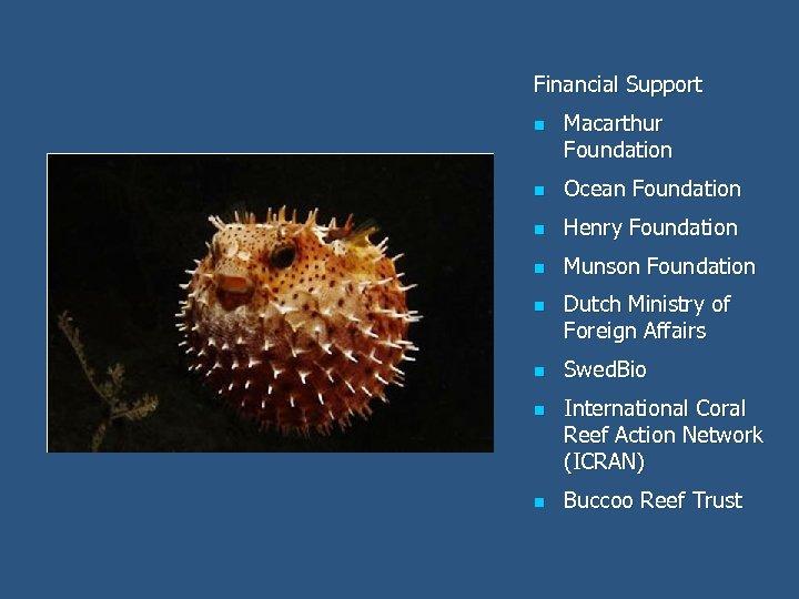Financial Support n Macarthur Foundation n Ocean Foundation n Henry Foundation n Munson Foundation