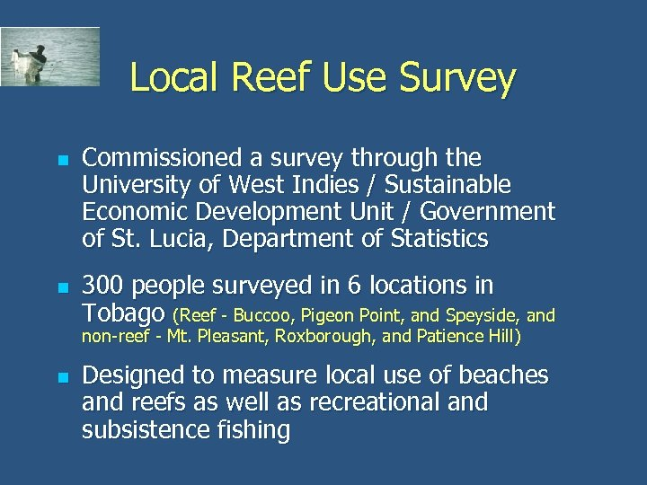 Local Reef Use Survey n n Commissioned a survey through the University of West