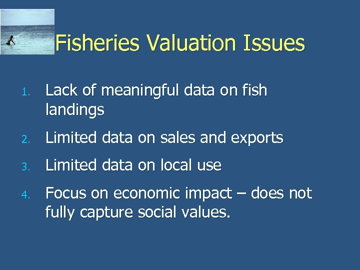Fisheries Valuation Issues 1. Lack of meaningful data on fish landings 2. Limited data